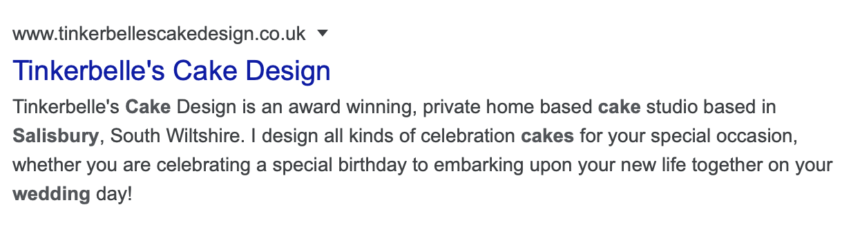 Example of a Google Search Result for SEO